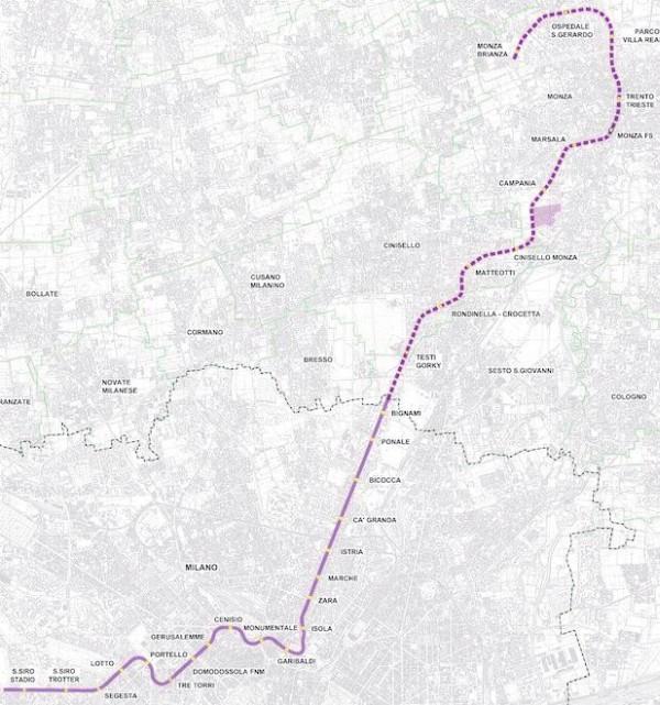 Sì al prolungamento della M5 a Monza: previsti 210mila passeggeri al giorno